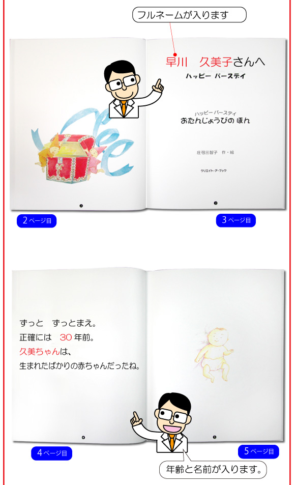 名前入りオーダーメイド絵本「おたんじょうびのほん」の2ページ