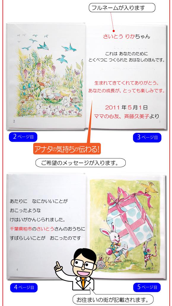 通販でお取り寄せのお祝いの名入れ絵本「赤ちゃん誕生」の6ページ