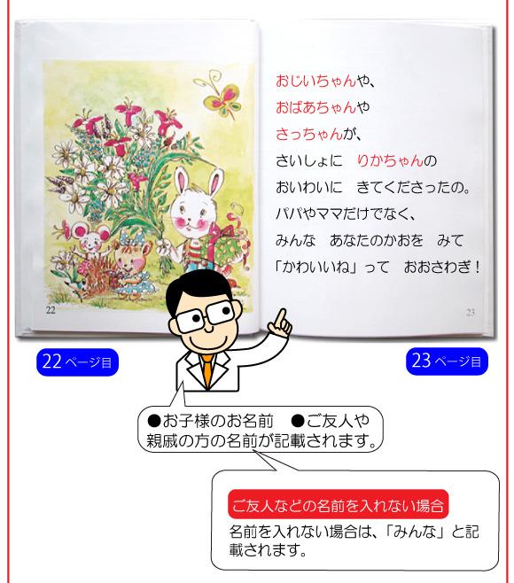 通販でお取り寄せのお祝いの名入れ絵本「赤ちゃん誕生」の26ページ