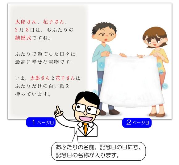 1ページ目の文章例:おふたりの結婚式ですね。