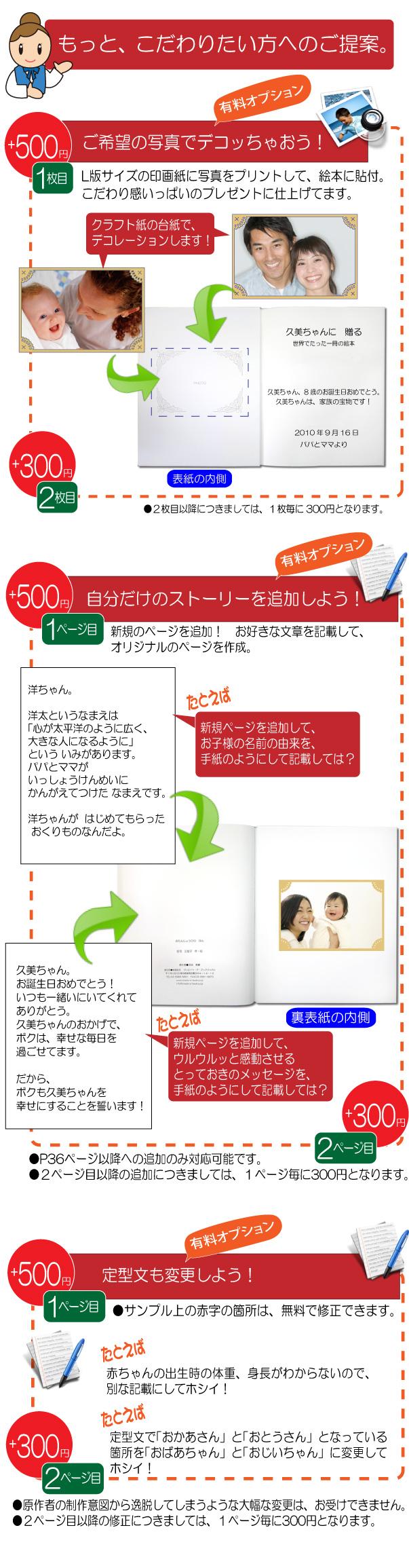 オーダーメイド絵本をカスタマイズ!