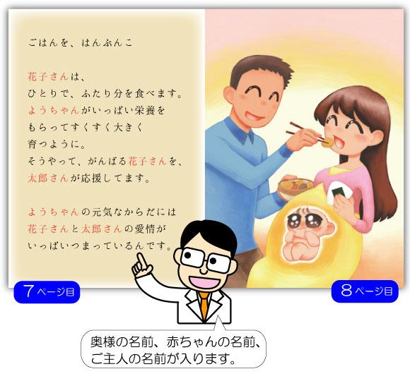 5ページ目の例文:ようちゃんが、成長すると 花子さんのおなかもだんだん大きくなります。