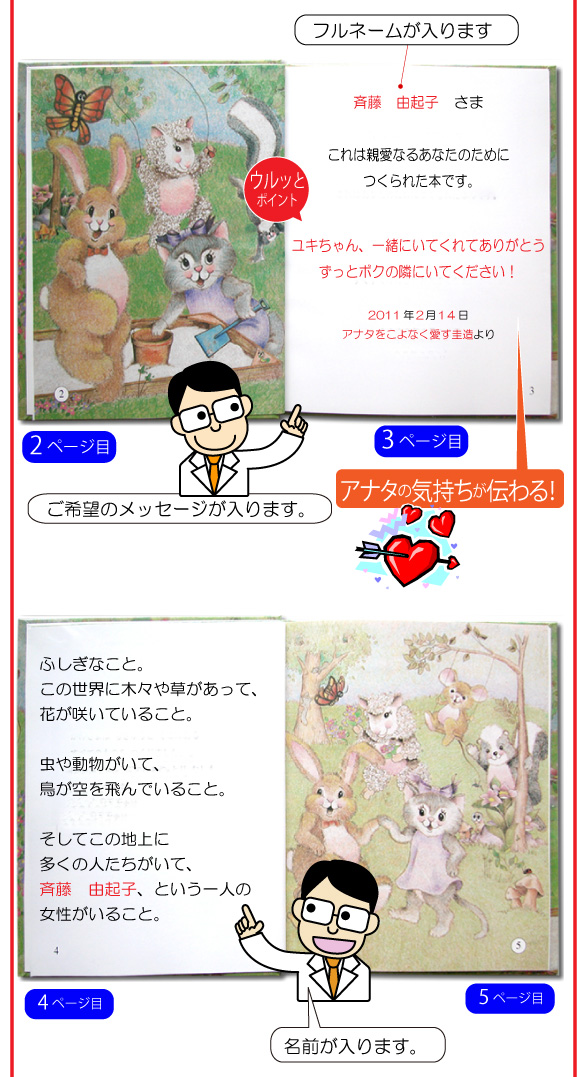 名前入り絵本の6ページ