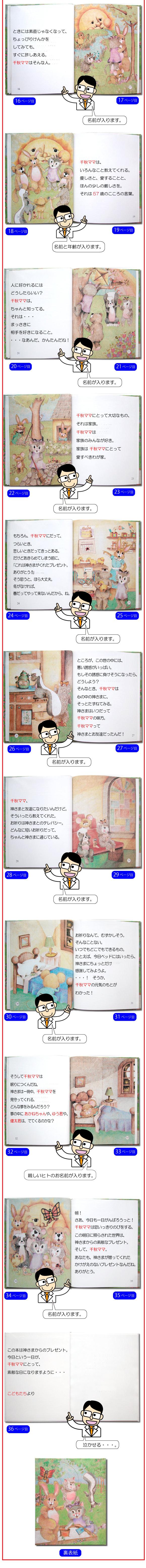還暦祝いのプレゼント向けオーダーメイド絵本の全ページ