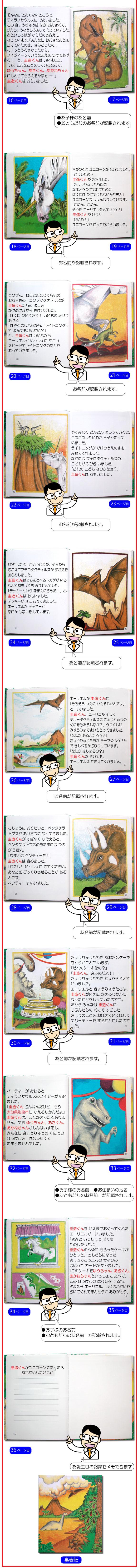 オーダーメイド絵本「恐竜の国での冒険」の中身