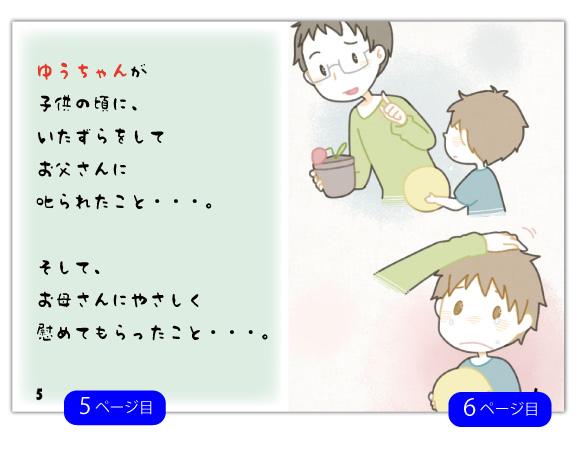 5ページ目の文章例:子供の頃に、いたずらをしてお父さんに叱られたこと・・。 そして、お母さんにやさしく慰めてもらったこと・・