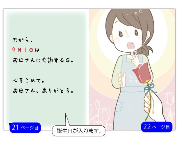 21ページ目の文章例:誕生日はお母さんに感謝する日。心をこめて。お母さん、ありがとう