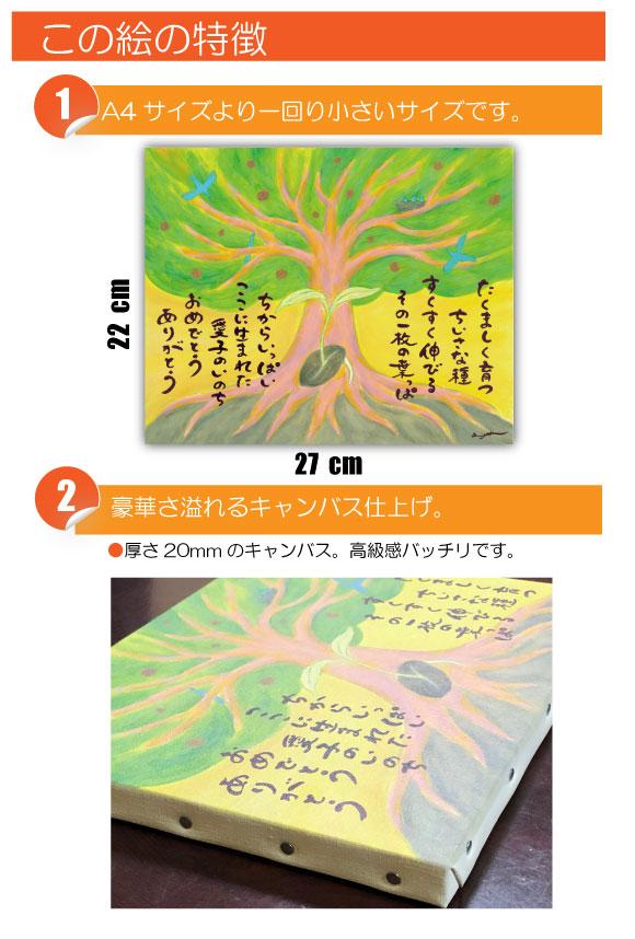 出産 内祝いのプレゼントの絵画アート「成長の樹」は、色彩が鮮やかです!