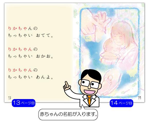 出産 内祝いの名入れ絵本「うまれてきてくれてありがとう」の13ページ