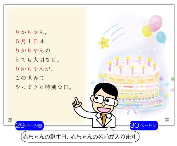 出産 内祝いの名前入り絵本「うまれてきてくれてありがとう」の29ページ