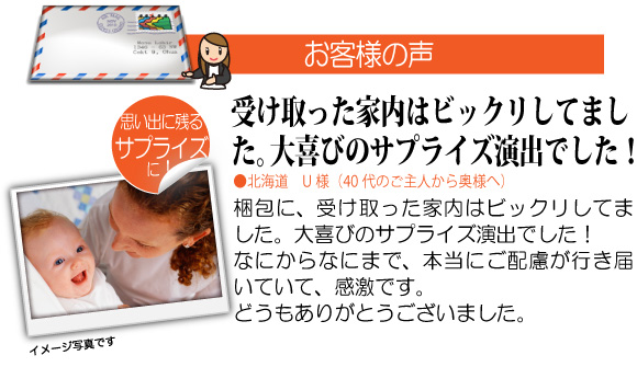 1歳の女の子や男の子への誕生日プレゼントのオーダーメイド絵本「ようこそ! あかちゃん」をご購入されたお客様の声2